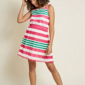ModCloth Pink Green Stripe Sundress XL NWT